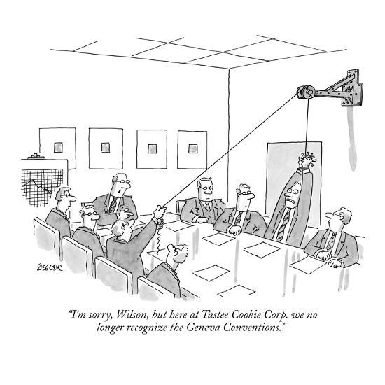 """I'm sorry, Wilson, but here at Tastee Cookie Corp. we no longer recognize?"" - New Yorker Cartoon-Jack Ziegler-Premium Giclee Print"