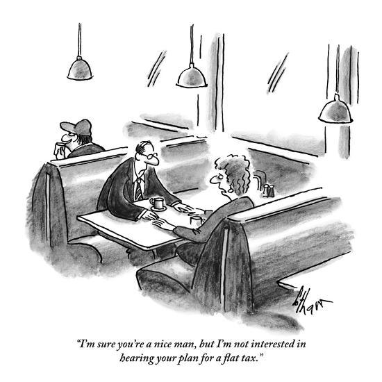 """""""I'm sure you're a nice man, but I'm not interested in hearing your plan?"""" - New Yorker Cartoon-Frank Cotham-Premium Giclee Print"""