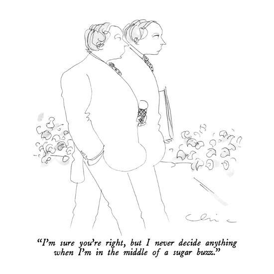 """""""I'm sure you're right, but I never decide anything when I'm in the middle…"""" - New Yorker Cartoon-Richard Cline-Premium Giclee Print"""