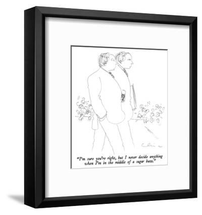 """I'm sure you're right, but I never decide anything when I'm in the middle…"" - New Yorker Cartoon-Richard Cline-Framed Premium Giclee Print"