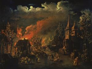 Naechtliche Feuersbrunst Im Dorf by I.M. Tonkow