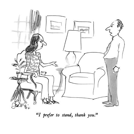 """I prefer to stand, thank you."" - New Yorker Cartoon-Edward Frascino-Premium Giclee Print"
