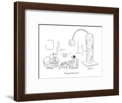 """""""I see you have a cat."""" - New Yorker Cartoon-Arnie Levin-Framed Premium Giclee Print"""