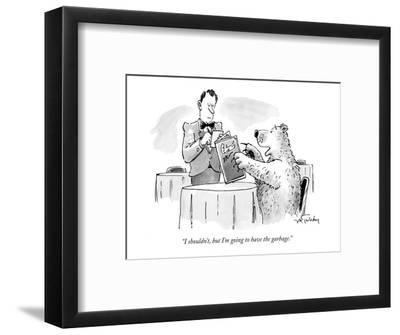"""""""I shouldn't, but I'm going to have the garbage."""" - New Yorker Cartoon-Mike Twohy-Framed Premium Giclee Print"""