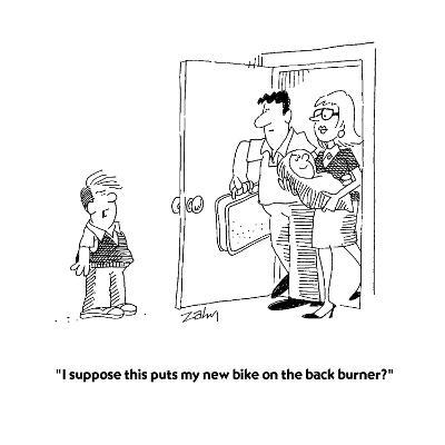 """I suppose this puts my new bike on the back burner?""  - Cartoon-Bob Zahn-Premium Giclee Print"