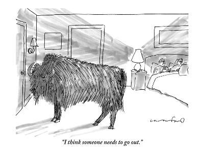"""I think someone needs to go out."" - New Yorker Cartoon-Michael Crawford-Premium Giclee Print"