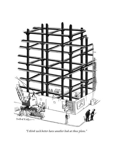 """""""I think we'd better have another look at those plans."""" - New Yorker Cartoon-Rowland Wilson-Premium Giclee Print"""