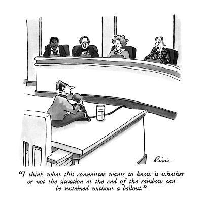 """""""I think what this committee wants to know is whether or not the situation?"""" - New Yorker Cartoon-J.P. Rini-Premium Giclee Print"""