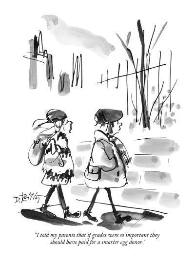 """""""I told my parents that if grades were so important they should have paid ?"""" - New Yorker Cartoon-Donald Reilly-Premium Giclee Print"""