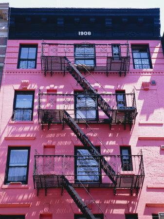 Pink Facade and Stairs in Soho, New York, New York State, USA