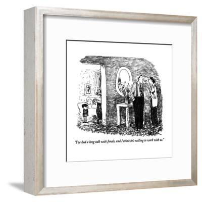 """""""I've had a long talk with Jonah, and I think he's willing to work with us?"""" - New Yorker Cartoon-Robert Weber-Framed Premium Giclee Print"""