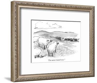 """I've never trusted cows."" - New Yorker Cartoon-Warren Miller-Framed Premium Giclee Print"