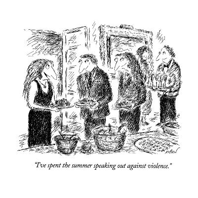 """I've spent the summer speaking out against violence."" - New Yorker Cartoon-Edward Koren-Premium Giclee Print"