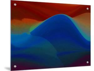 Abstract Blue Wave Formation with Red and Brown Background by I.W.