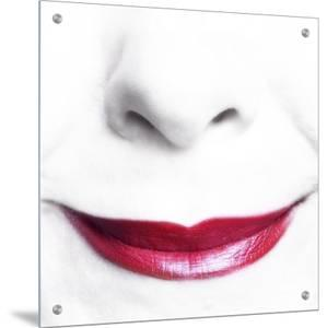 Bright Red Lips of Smiling Woman by I.W.