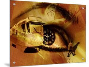 Collage of Womans Eye with Clock in Pupil and Child Walking to School Bus by I.W.