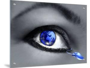 Collage of Womans Eye with Globe Looking East, Connected to Mouse by I.W.