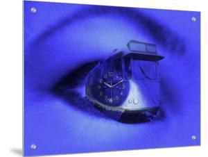 Time Expressions, Eye of Woman with Clockface Superimposed over Pupil by I.W.
