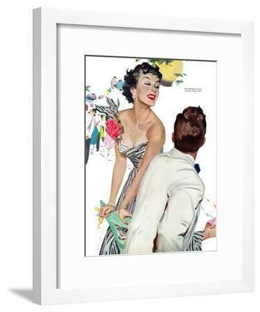 "I Want A Man  - Saturday Evening Post ""Leading Ladies"", April 15, 1950 pg.40-Joe deMers-Framed Giclee Print"