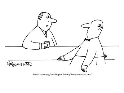 """I want to vote my fears this year, but they'll only let me vote once."" - New Yorker Cartoon-Charles Barsotti-Premium Giclee Print"