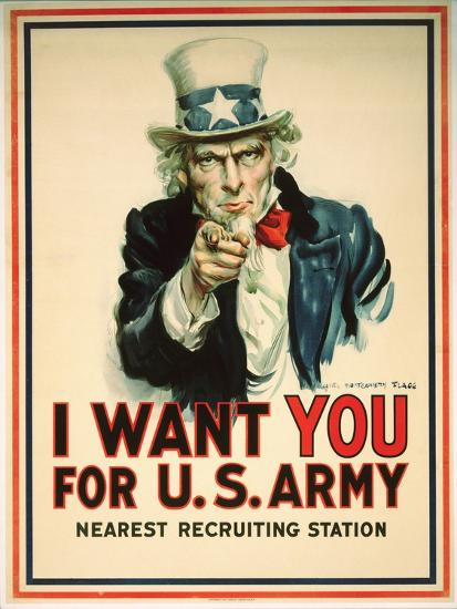 I Want You for the U.S. Army Recruitment Poster-James Montgomery Flagg-Giclee Print