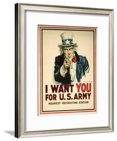 I Want You for the U.S. Army Recruitment Poster-James Montgomery Flagg-Framed Giclee Print