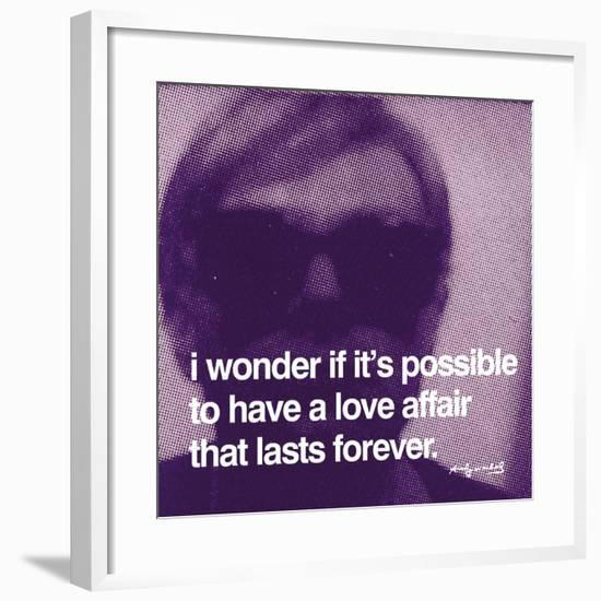 I wonder if it's possible to have a love affair that lasts forever--Framed Art Print