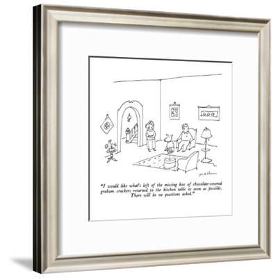 """""""I would like what's left of the missing box of chocolate-covered graham c?"""" - New Yorker Cartoon-Michael Maslin-Framed Premium Giclee Print"""