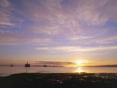 Udale Bay and Oil Rigs at Dawn, Ross-Shire
