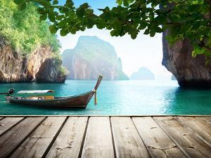 Adaman Sea and Wooden Boat in Thailand by Iakov Kalinin