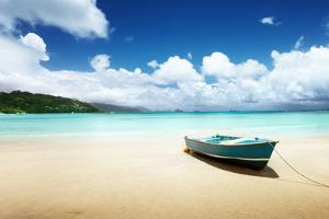 Boat on Beach Mahe Island, Seychelles by Iakov Kalinin