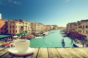 Coffee on Table and Venice in Sunset Time, Italy by Iakov Kalinin