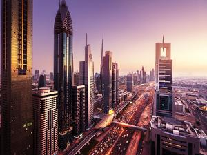 Dubai Skyline in Sunset Time, United Arab Emirates by Iakov Kalinin