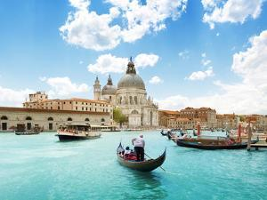 Grand Canal And Basilica Santa Maria Della Salute, Venice, Italy And Sunny Day by Iakov Kalinin