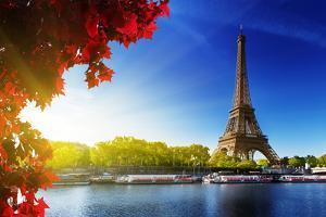 Seine in Paris with Eiffel Tower in Autumn Time by Iakov Kalinin