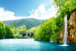 Waterfall in Deep Forest of Croatia by Iakov Kalinin