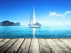 Yacht and Wooden Platform by Iakov Kalinin