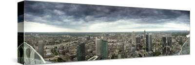 View of Frankfurt Am Main under Stormy Skies, from Maintower Observation Deck, Hesse, Germany