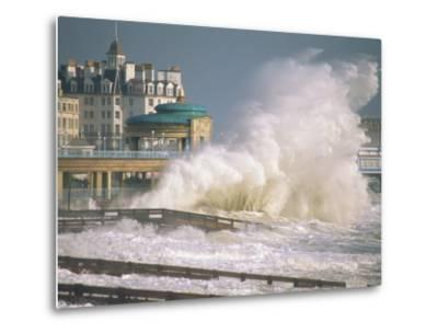 Waves Pounding Bandstand, Storm in Eastbourne, East Sussex, England, United Kingdom, Europe