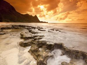 Kauai, Hawaii: Sunset on Tunnels Beach by Ian Shive