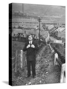 British Politician Aneurin Bevan Posing in Front of in His Home Town During His Campaign by Ian Smith