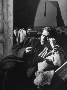 James Mason Sitting on Set of the Movie Odd Man Out by Ian Smith