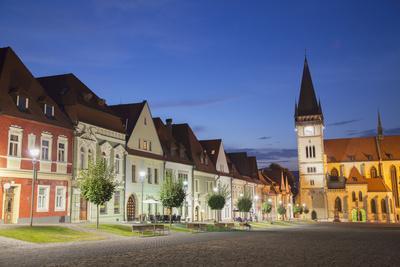 Basilica of St Egidius in Radnicne Square at Dusk, Bardejov, Presov Region, Slovakia