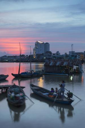 Boats on Can Tho River at Sunset, Can Tho, Mekong Delta, Vietnam, Indochina, Southeast Asia, Asia