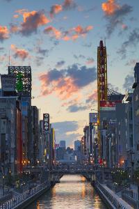 Dotombori at Sunset, Osaka, Kansai, Japan by Ian Trower
