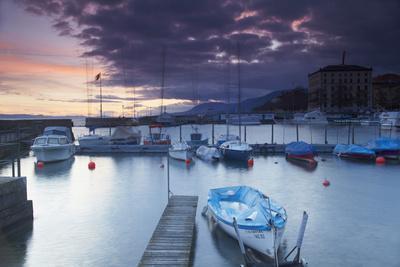 Harbour at Sunset, Neuchatel, Switzerland, Europe
