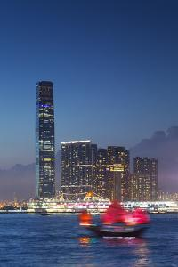 International Commerce Centre (Icc) and Junk Boat at Dusk, Hong Kong, China by Ian Trower