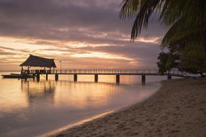 Jetty on Leleuvia Island at Sunset, Lomaiviti Islands, Fiji, South Pacific, Pacific by Ian Trower