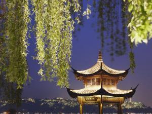 Pavilion on Xi Hu at Dusk, Hangzhou, Zhejiang, China, Asia by Ian Trower