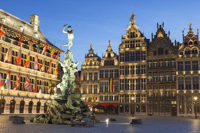 Town Hall (Stadhuis) and guild houses in Main Market Square, Antwerp, Flanders, Belgium, Europe